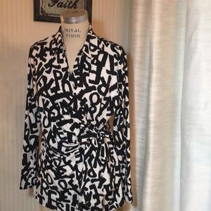 Mishca Black and White Wrap Blouse